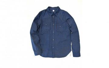 Pure Blue Japan Seersucker Indigo Check Workshirt front