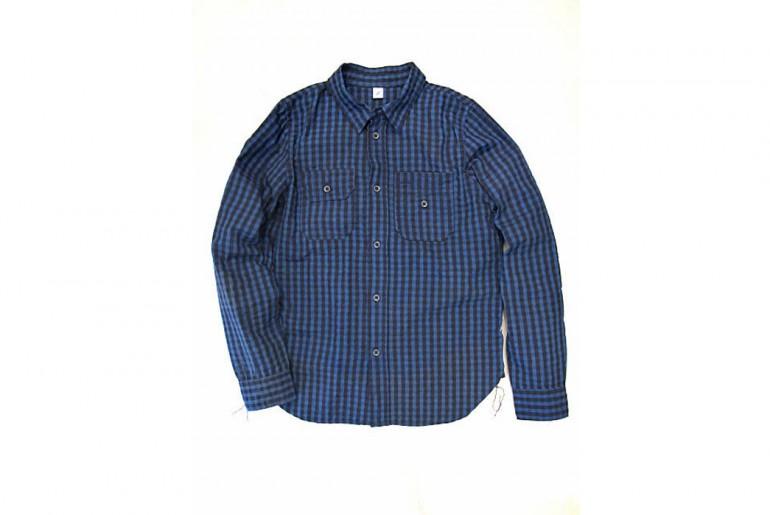 Pure Blue Japan Seersucker Indigo Check Workshirt front</a>