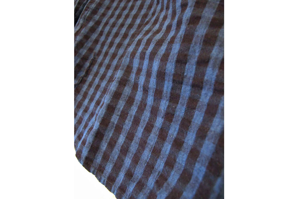 Pure Blue Japan Seersucker Indigo Check Workshirt