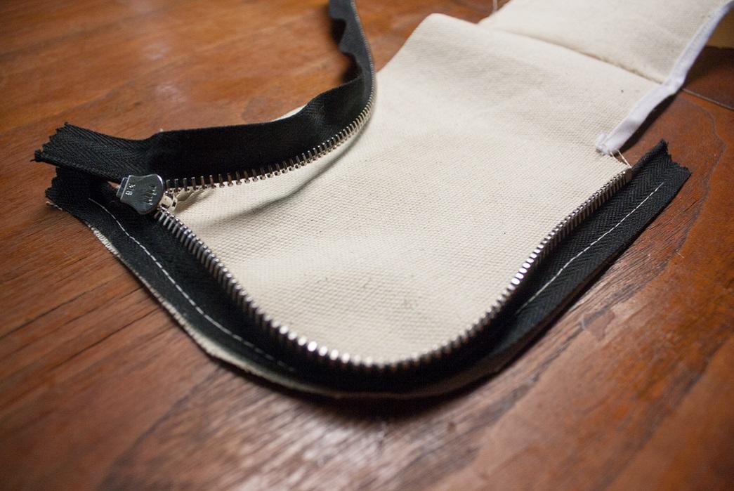 Adding the zipper to make a zip wallet