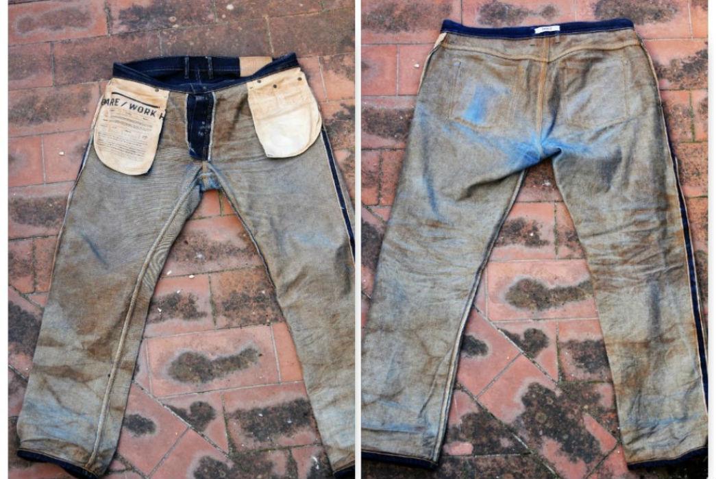 Noble Denim x Bulleit Bourbon Barrel Aged Jeans Back and Front Interior