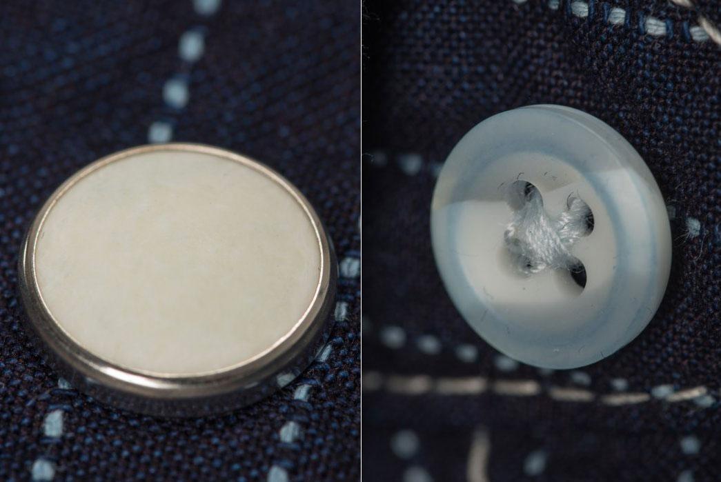 Iron-Heart-7oz-Pinstripe-Short-Sleeved-indigo-Western-Shirt-buttons