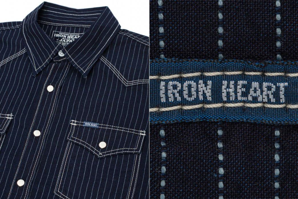 Iron-Heart-7oz-Pinstripe-Short-Sleeved-indigo-Western-Shirt-front-tag-closeup