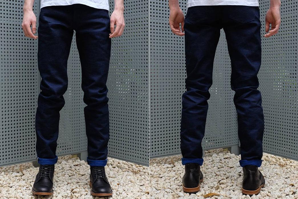 Japan-Blue-x-Okayama-Denim-'Sapphire-Slub'-18oz.-Selvedge-Jeans-front-and-back-fit