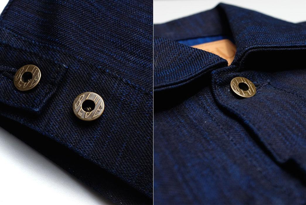 Japan-Blue-x-Okayama-Denim-'Sapphire-Slub'-18oz.-Selvedge-buttons-collar