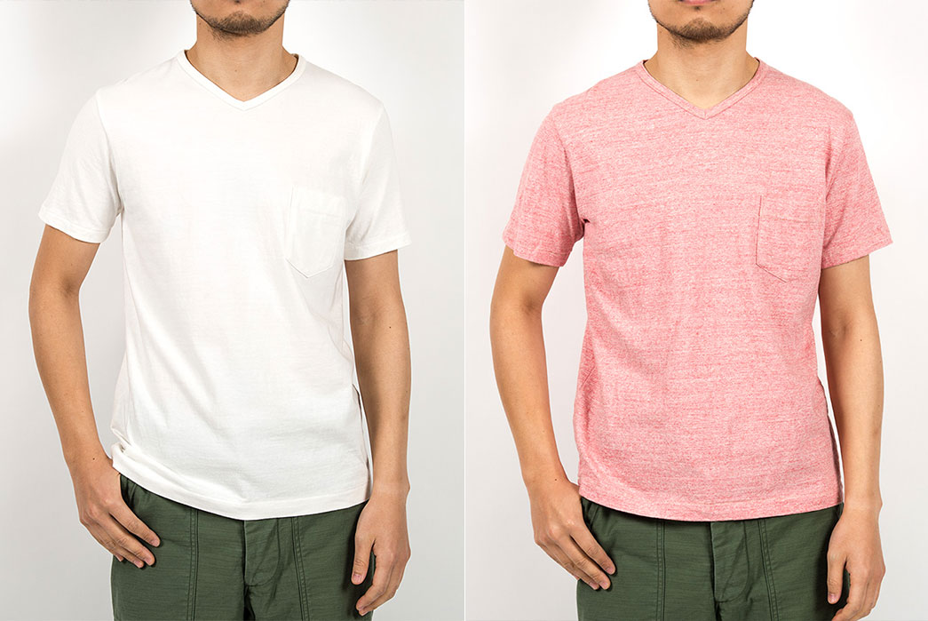 Workers-pocket-t-v-neck-white-red-fit