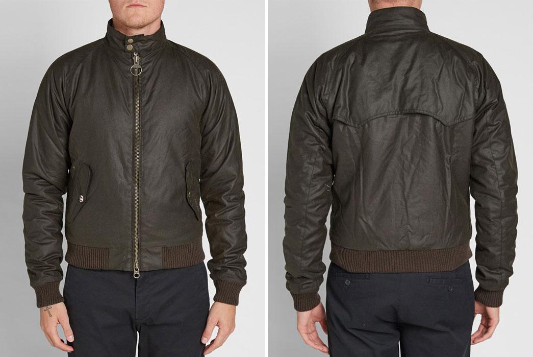 harrington-style-jackets-five-plus-one-3-barbour-steve-mcqueen-merchant-wax-jacket-in-olive