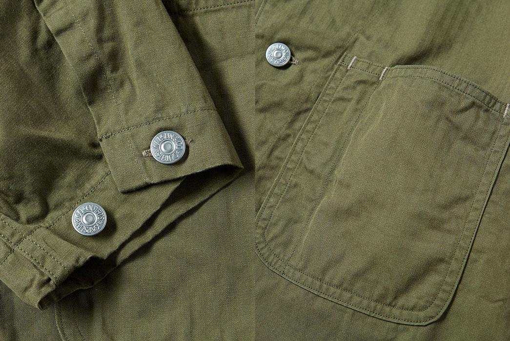 kaptain-sunshine-olive-41-jacket-fit-details