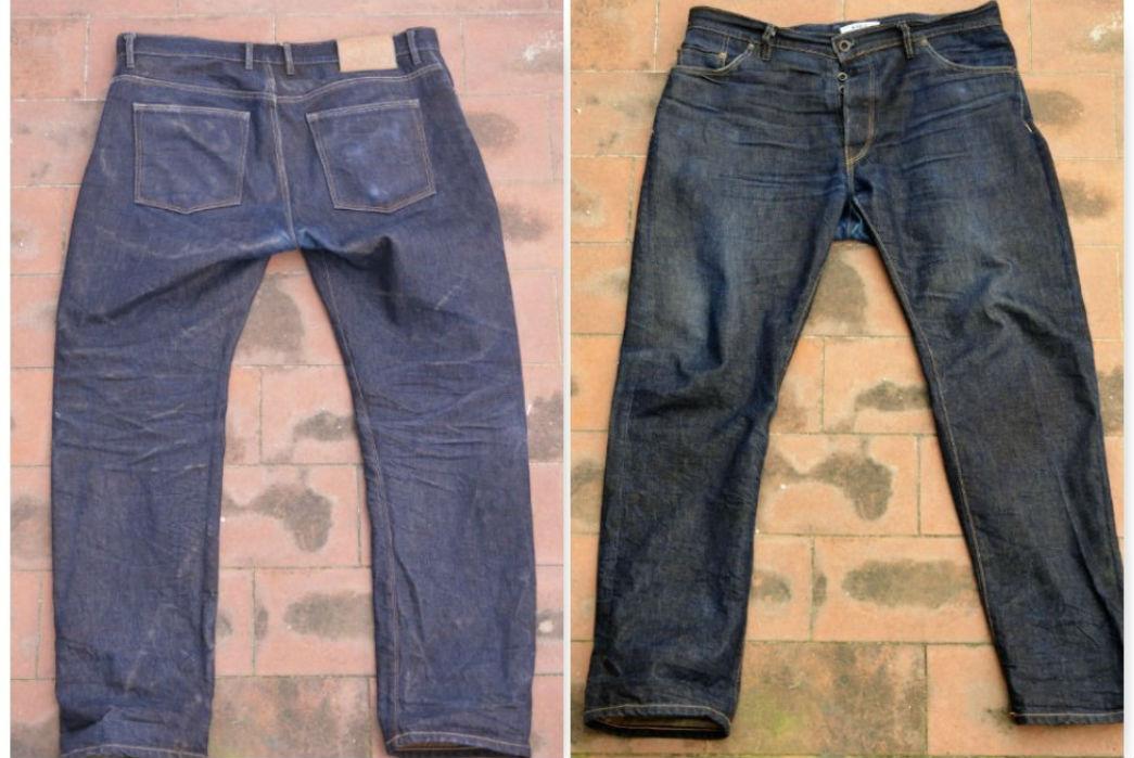 Noble Denim x Bulleit Bourbon Barrel Aged Jeans Back and Front