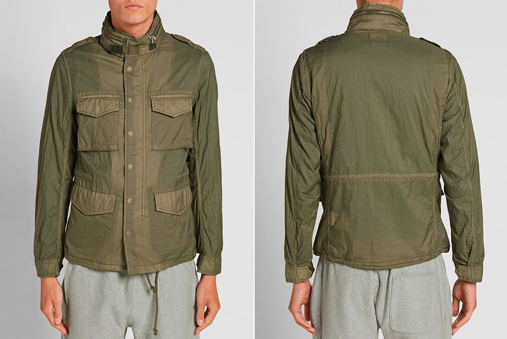 Beams-Plus-Garment-Dyed-Nylon-M65-Jackets-olive-drab-front-and-back-fit