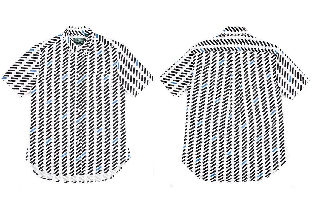 Gitman-Vintage-Short-Sleeve-White-Black-and-Blue-Shirt-Front-and-Back