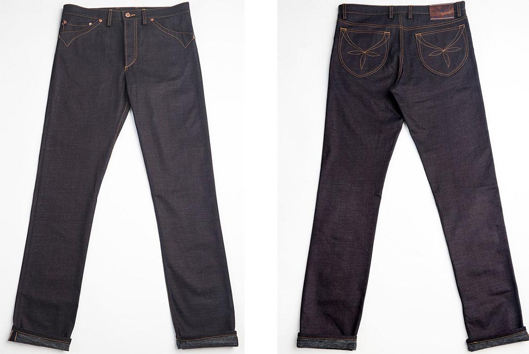 JWJ-Brand-Blue-U-Dark-Warp-11.5oz.-Jeans-front-and-back-flat