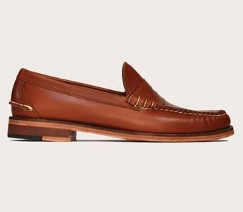 Oak-Street-Bootmakers-Cognac Beefroll Penny Loafer-Shoes
