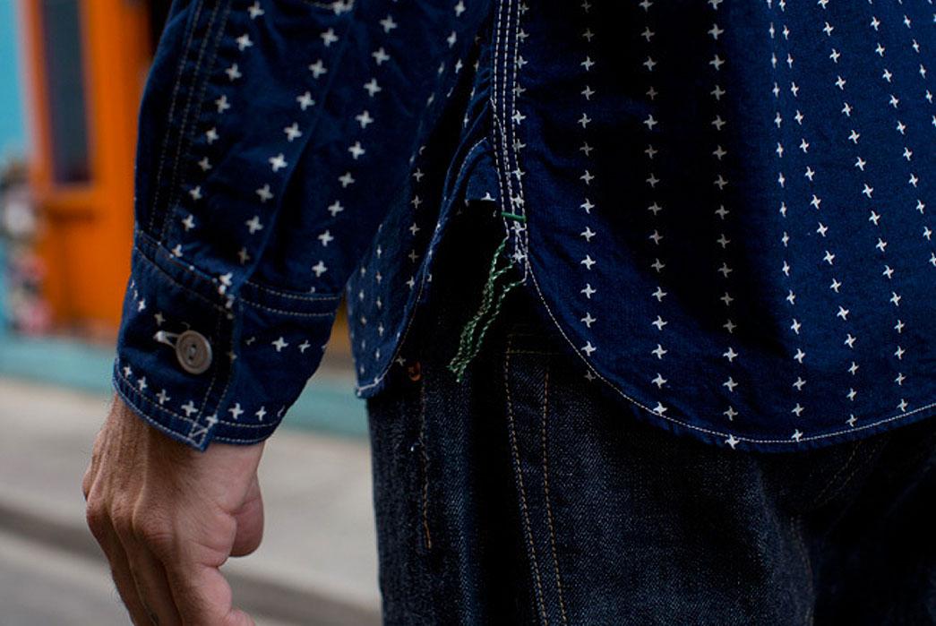 Samurai-SSKSLO1-Indigo-Wabash-Work-Shirt-chainstitch-runoff-gusset