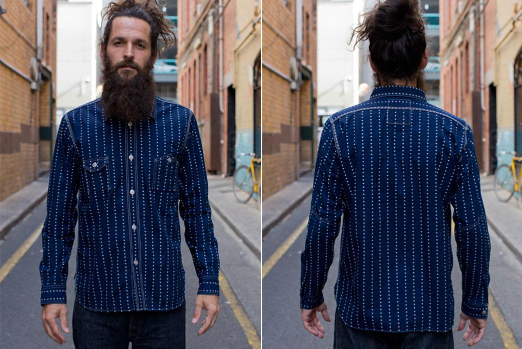 Samurai-SSKSLO1-Indigo-Wabash-Work-Shirt-front-and-back-fit