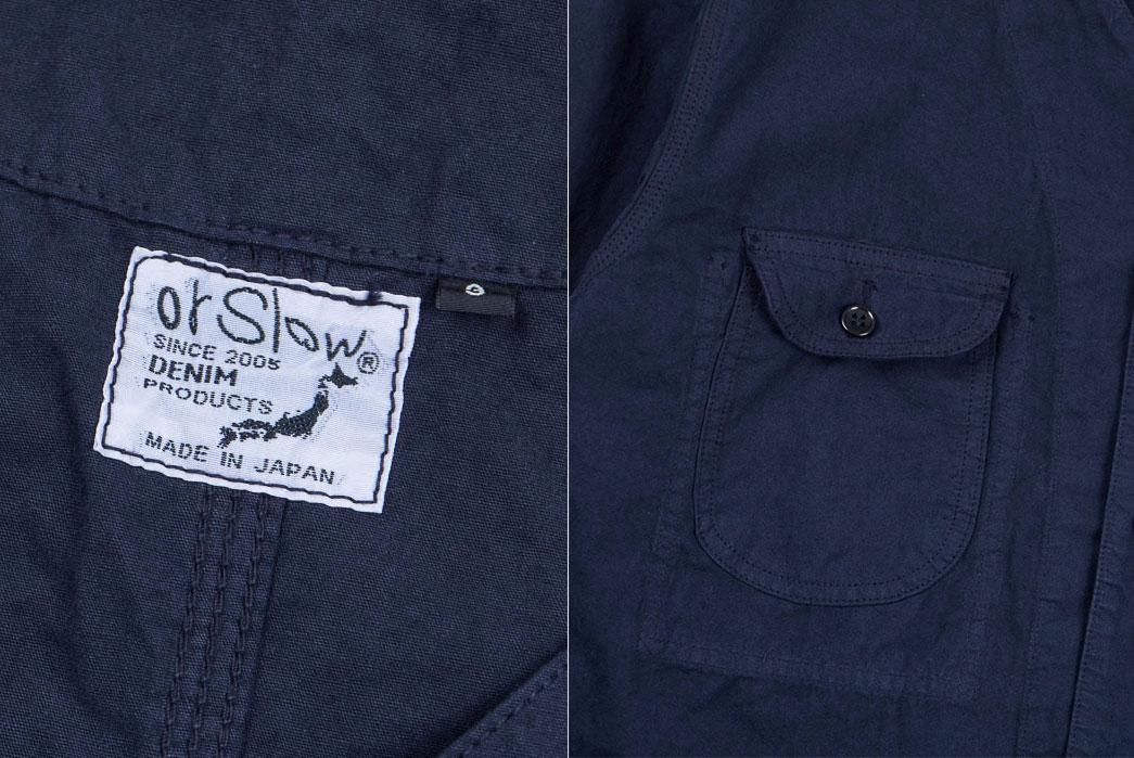 orSlow-Navy-Poplin-Rail-Road-Jacket-tag-front-pocket