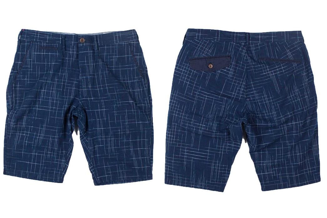 Koromo Hand-Dyed Indigo Patterned Shorts