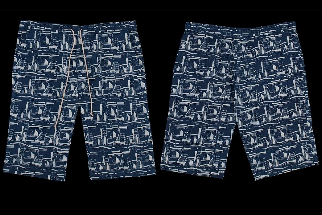 Frank Leder Drawstring Blaudruck Patterned Shorts in Navy