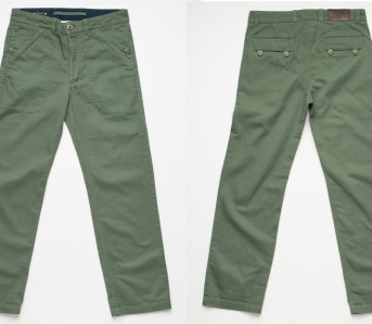Freenote-Cloth-Vagabond-Chino-Dead-stock-Drab-Olive-Front-Back