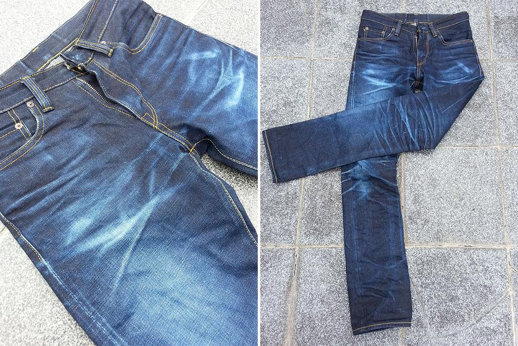 Fade of the Day – Kaiga Denim Asahi (7 Months, 1 Wash, 1 Soak) Close up Full
