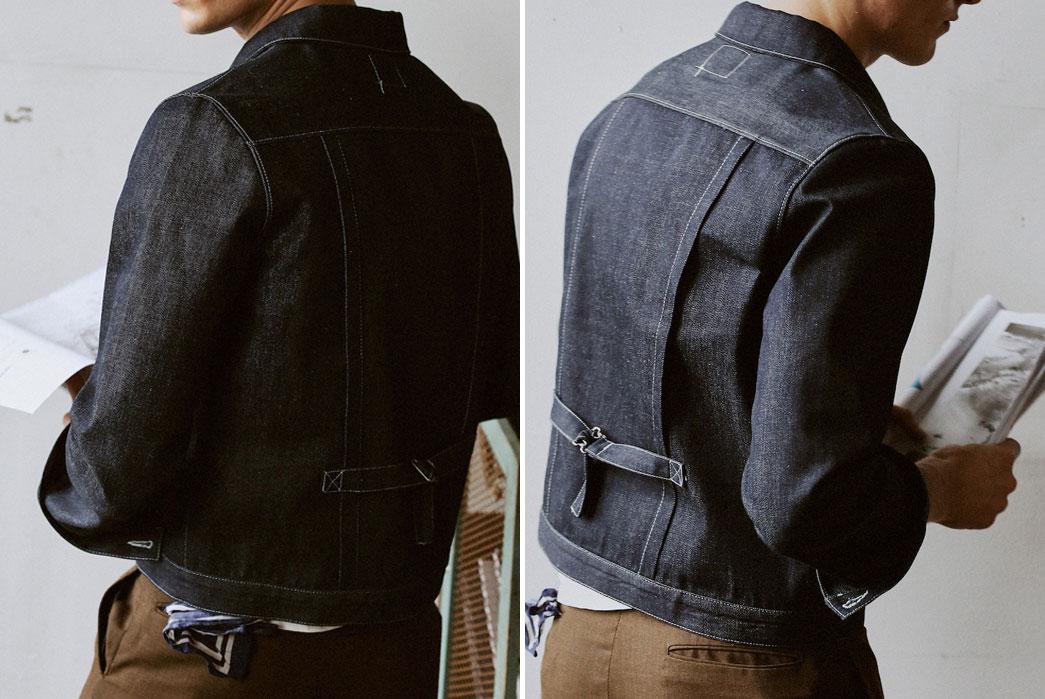 Kmfg.-Pleated-denim-jacket.-Backside