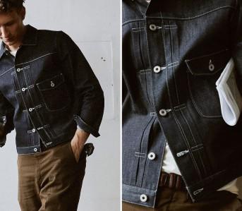 Kmfg.-Pleated-denim-jacket.-Frontside