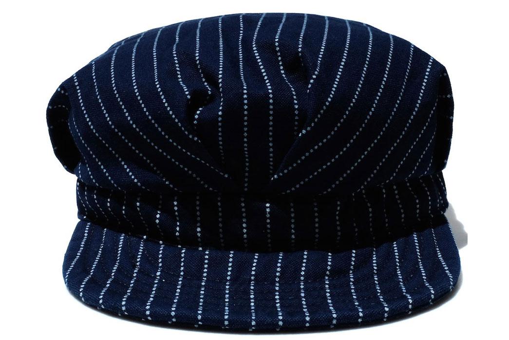 Momotaro-Denim-Railroad-Indigo-Wabash-Work-Hat-Front