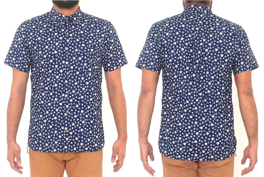 Momotaro-OD+MJ-Indigo-Floral-Selvedge-SS-Shirt-Model-Front-Back