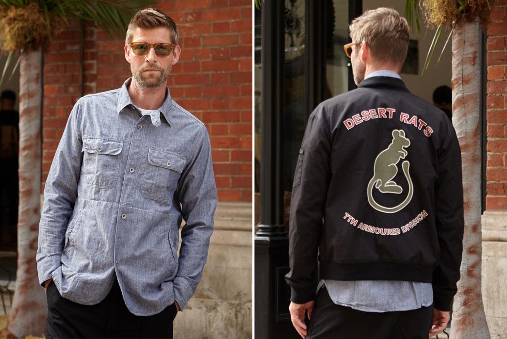 Nigel-Cabourn-6Spring-Summer-17-Desert-Rats-Blue-Shirt-Front-Back