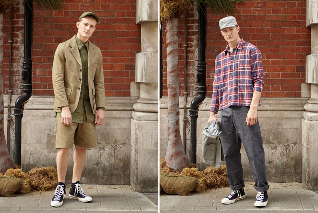 Nigel-Cabourn-6Spring-Summer-17-Desert-Rats-Shorts-Blue-Red-Shirt