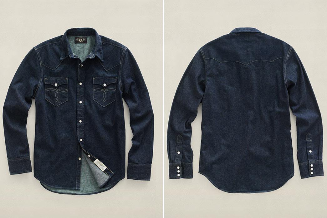 RRL-Slim-Fit-Denim-Western-Shirt-Front-Back