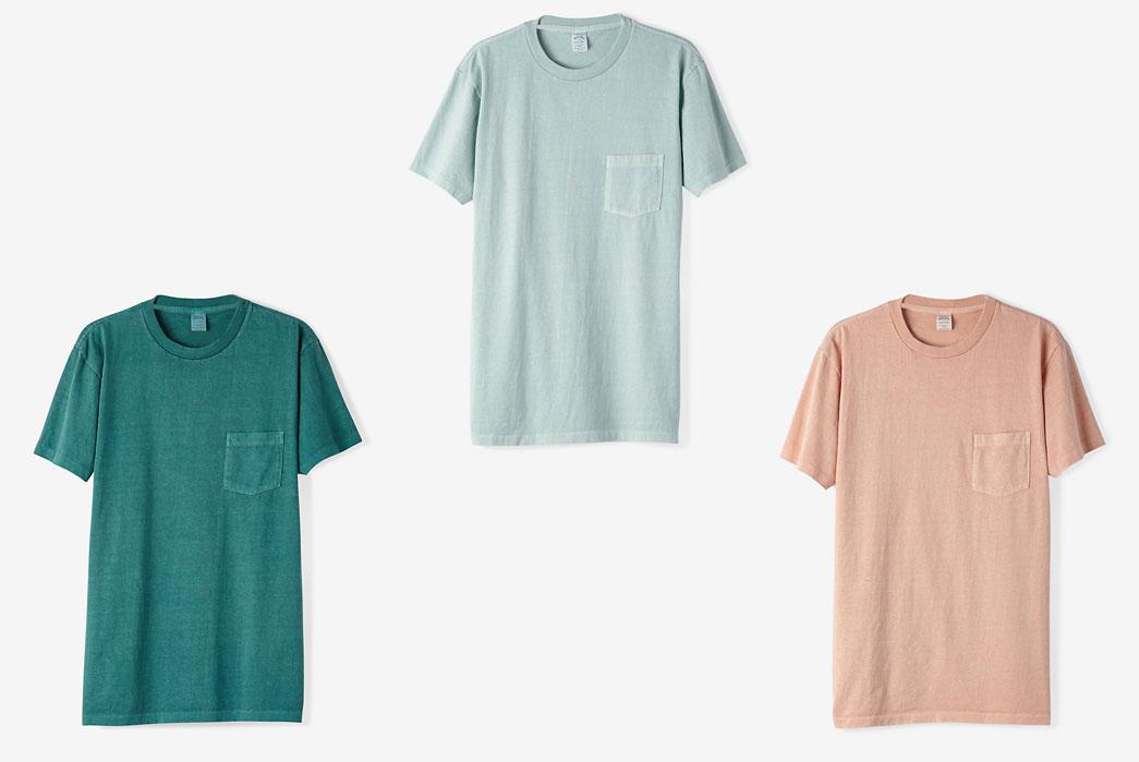 Steven-Alan-Pigment-Dyed-Crew-Neck-Short-Sleeve-Tee-Green-blue-pink