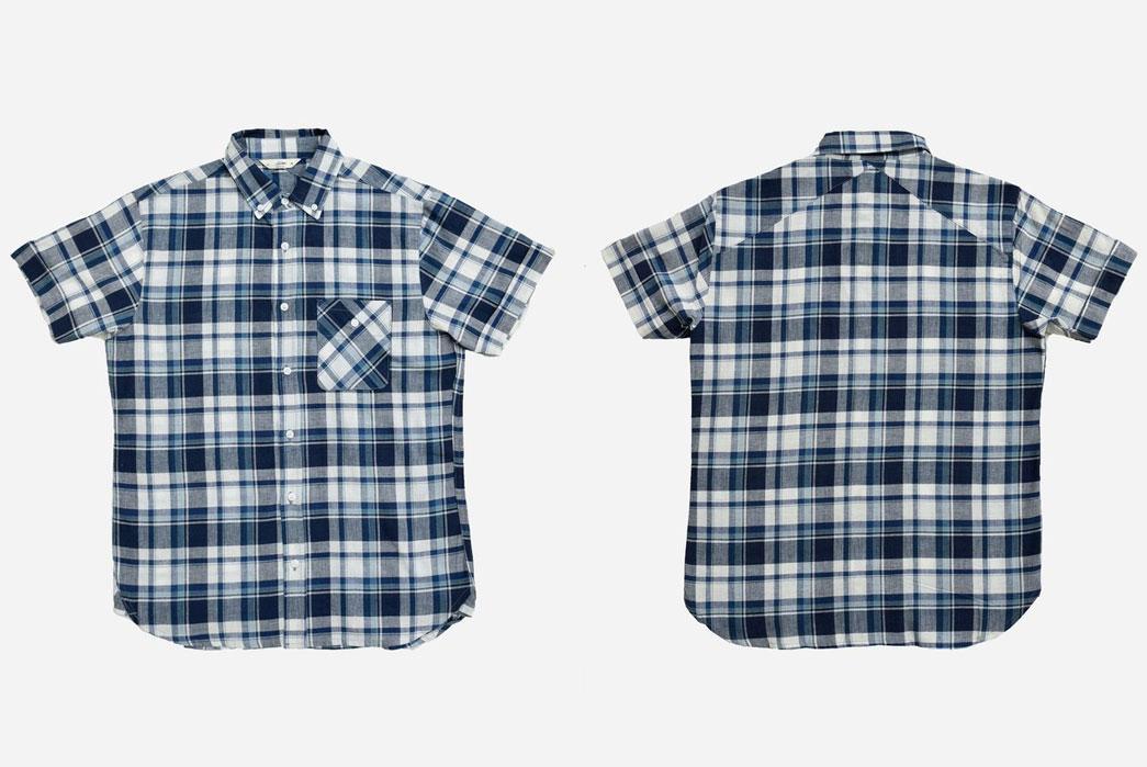 3sixteen-Short-Sleeve-Workshirt-Indigo-White-Madras-Front-Back