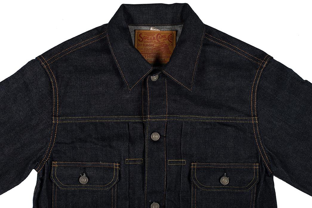 Sugar-Cane-1953-Type-II-Unsanforized-Raw-Denim-Jacket-Modified-Length-Collar