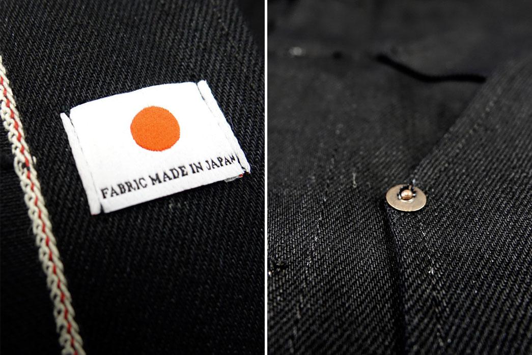 Tellason-13.5oz-Japanese-Black-Selvedge-Denim-Coverall-Jacket-Details