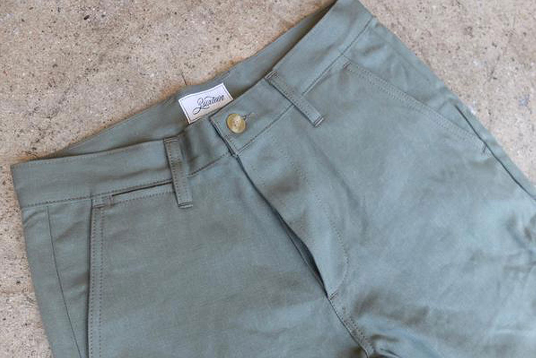 3sixteen-12oz-Japanese-Selvedge-Twill-Chino-Olive-Front-Close-Up