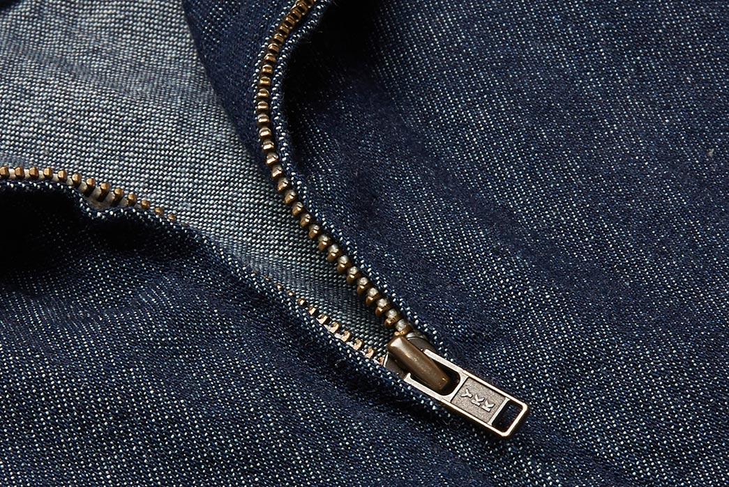 Battenwear-Made-in-Canada-Garage-Denim-Zip-Up-Shirt-Collar-Close-Up