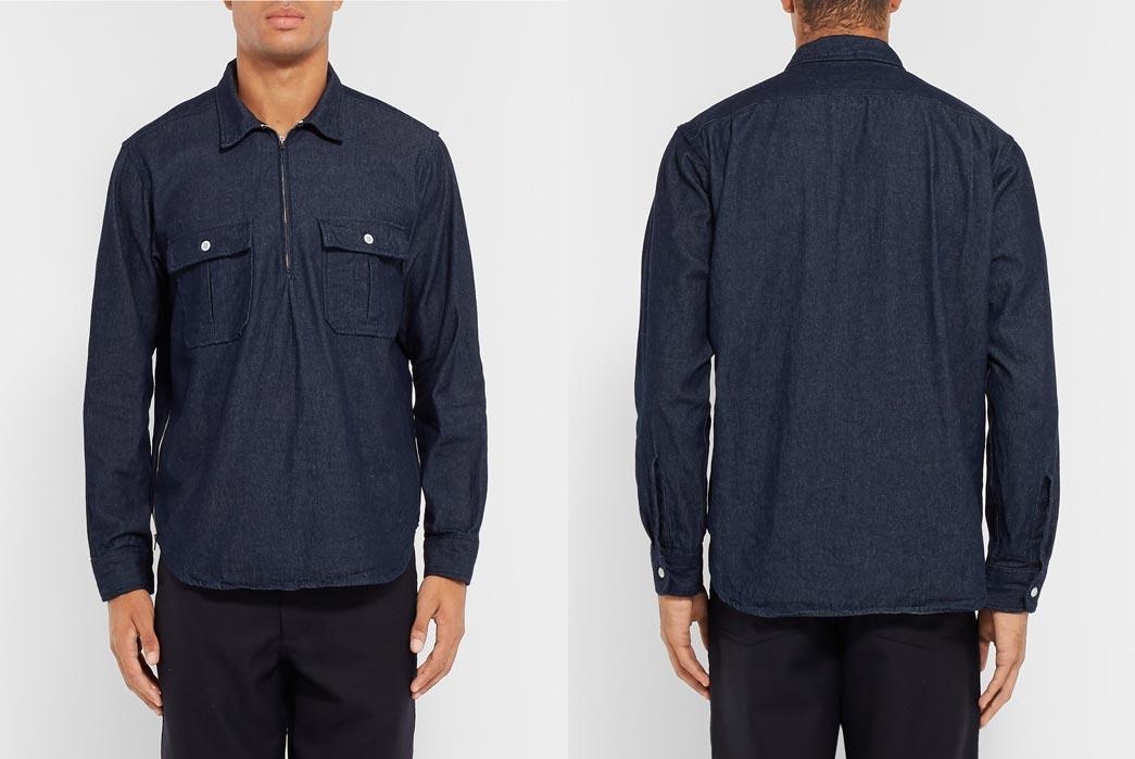 Battenwear-Made-in-Canada-Garage-Denim-Zip-Up-Shirt-Model-Front-Back