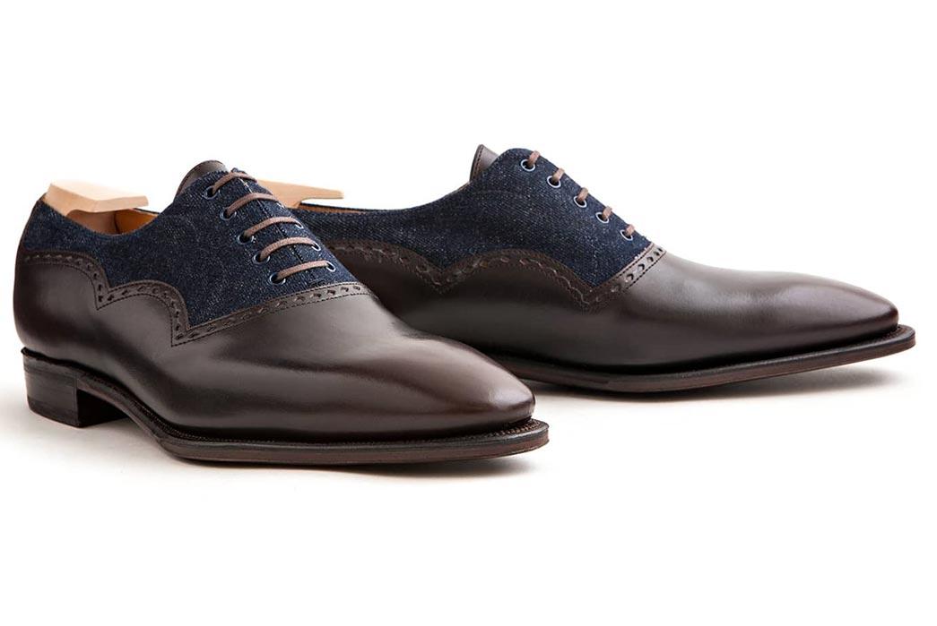 Corthay-Wilfrid-Balmoral-Dress-Shoes-in-Dark-Brown-Calfskin-and-Denim-Both