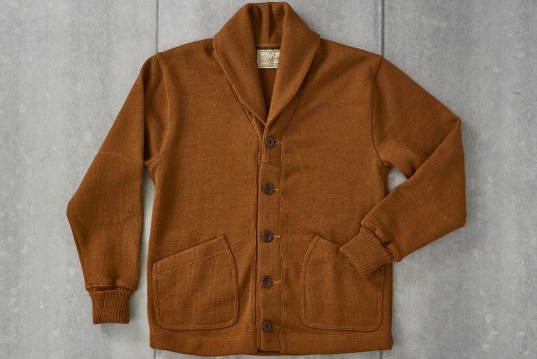Dehen-1920-x-Division-Road-Inc-Worsted-Wool-Shawl-Collar-Cardigan-Nutmeg-Front