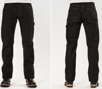Iron-Heart-IH-814-Wabash-Stripe-Black-Wabash-Painter's-Pants-Front-Back