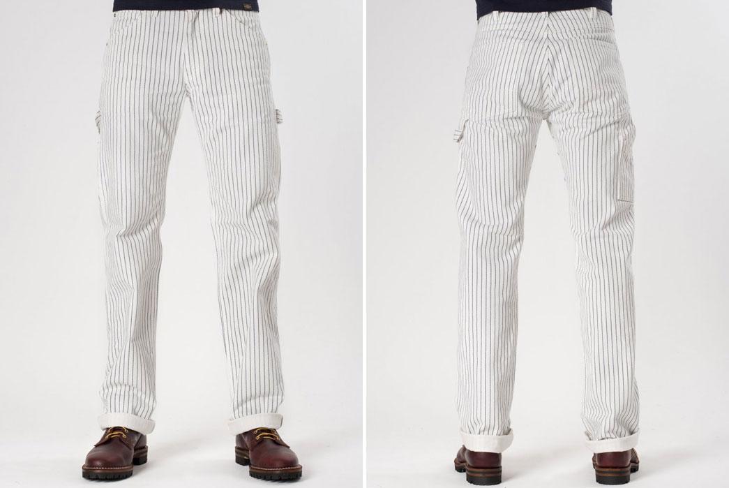 Iron-Heart-IH-814-Wabash-Stripe-White-Wabash-Painter's-Pants-Front-Back