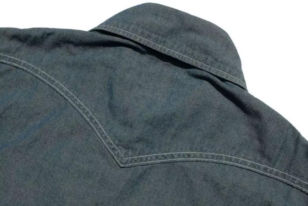 Momotaro-5oz-Green-Tea-Dyed-Western-Chambray-Shirt-Back-Close-Up