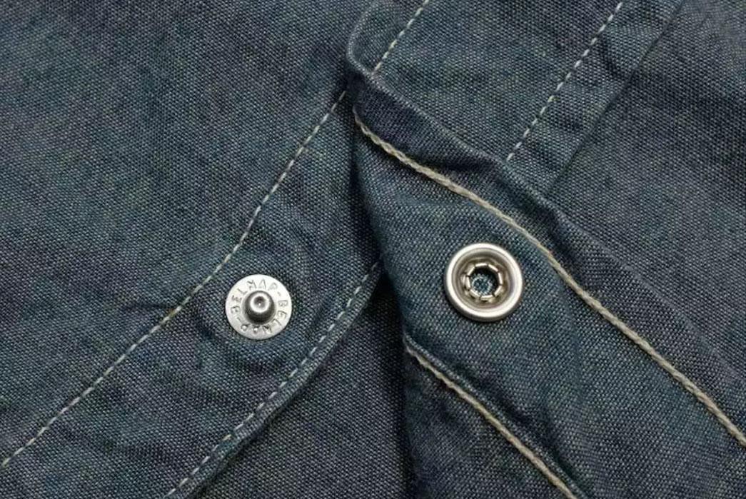 Momotaro-5oz-Green-Tea-Dyed-Western-Chambray-Shirt-Buttons