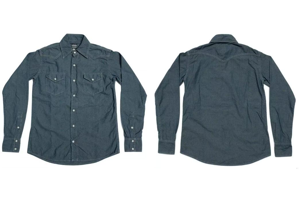 Momotaro-5oz-Green-Tea-Dyed-Western-Chambray-Shirt-Front-Back