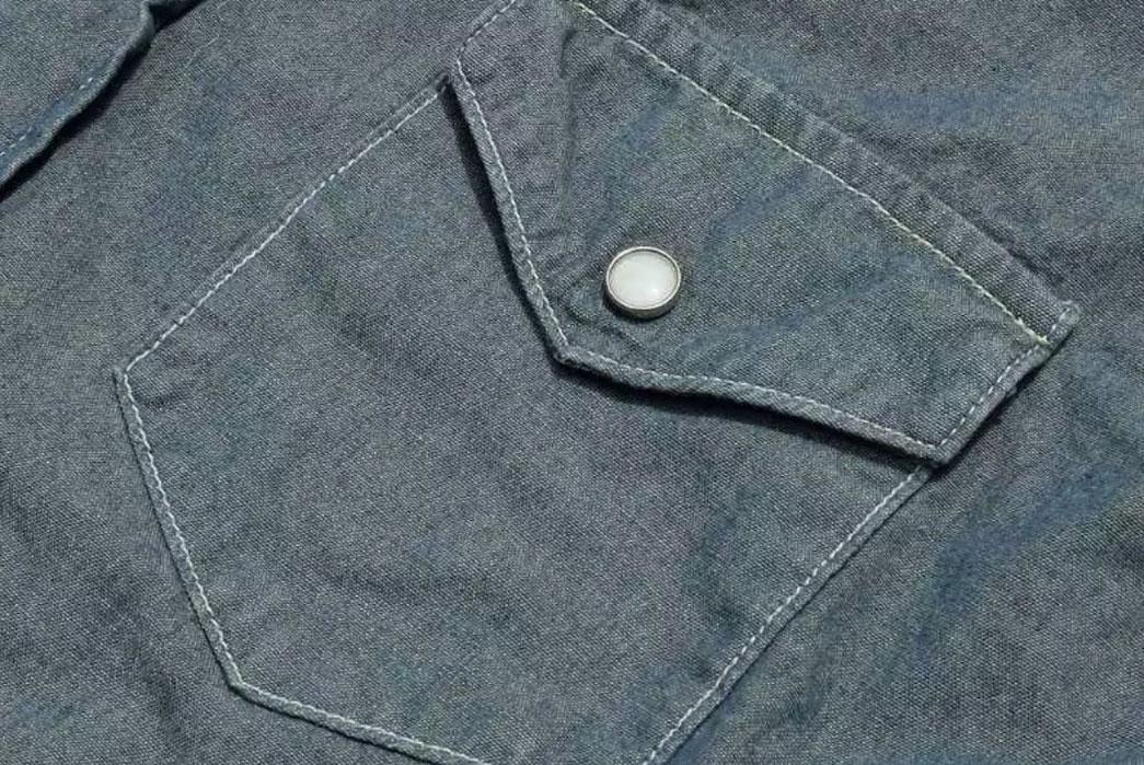 Momotaro-5oz-Green-Tea-Dyed-Western-Chambray-Shirt-Pocket