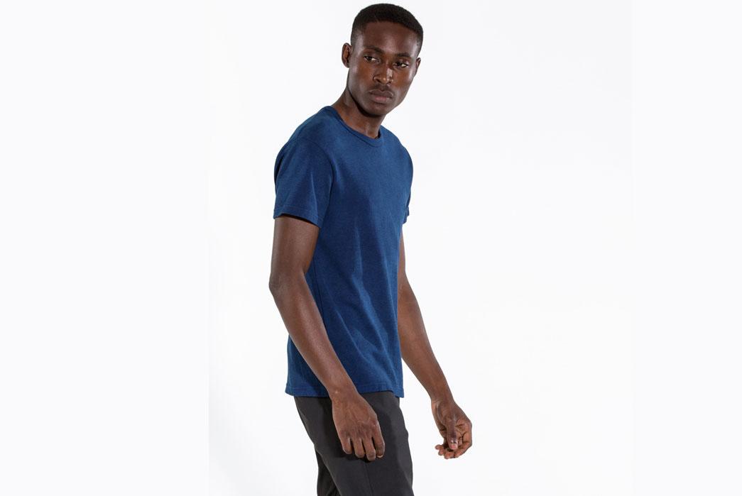 Outlier-Experiment-011-Buaisou-Indigoweight-Merino-Wool-T-Shirt-Model-Overside