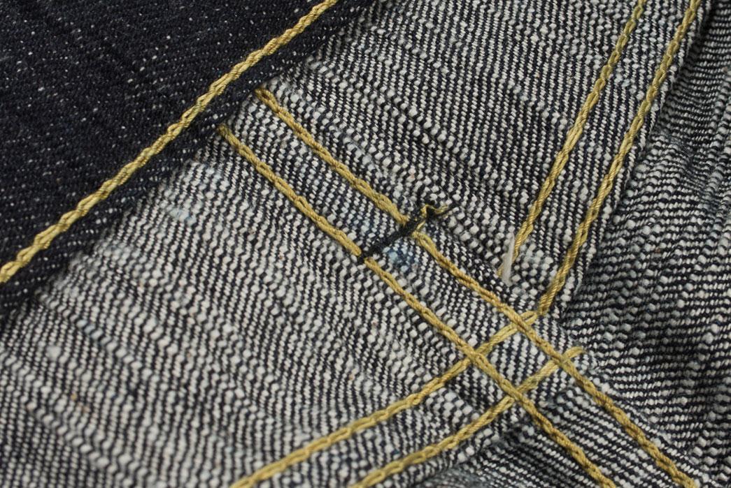 Self-Edge-x-trike-Gold-Wavy-Standard-Short-Slub-Selvedge-Jeans-Cloth