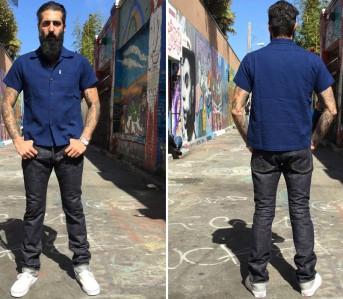 Self-Edge-x-trike-Gold-Wavy-Standard-Short-Slub-Selvedge-Jeans-Front-Back