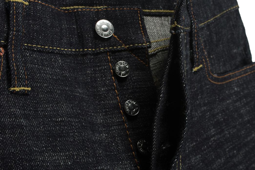 Self-Edge-x-trike-Gold-Wavy-Standard-Short-Slub-Selvedge-Jeans-Front-Close-Up
